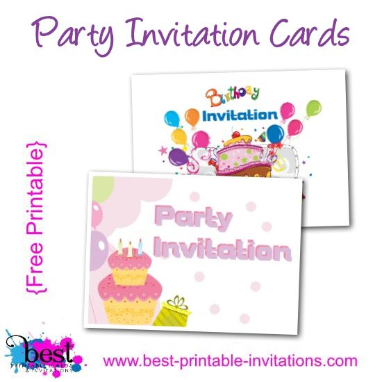 Free Printable Kids Invitations - Party Cards