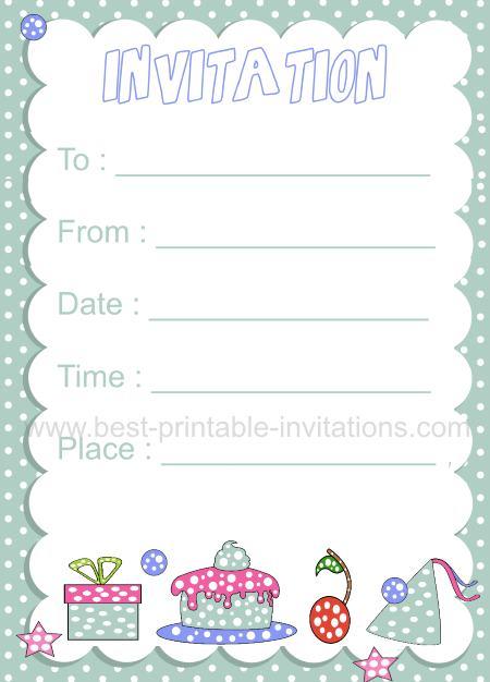 Printable Kid Birthday Invitation