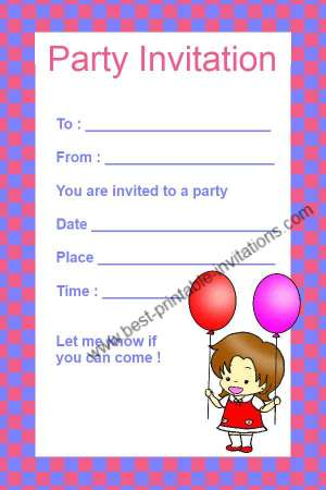Kids Birthday Invitations - Free Printable Girl Party Invitation