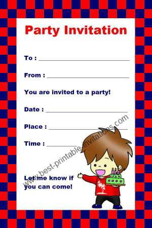 Printable Kids Birthday Invitations - Free Boy Party Invitations