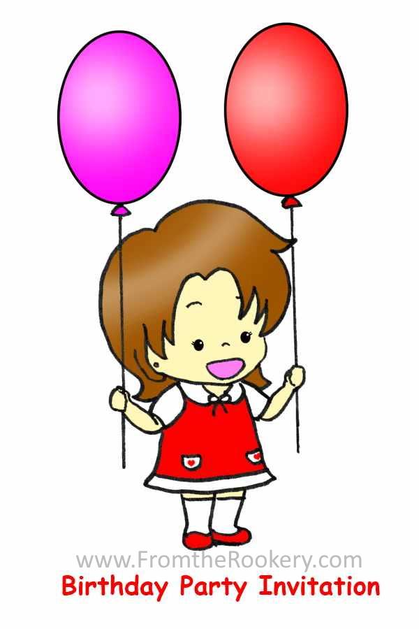 Printable Kids birthday party invitations - Girl Birthday Invitations