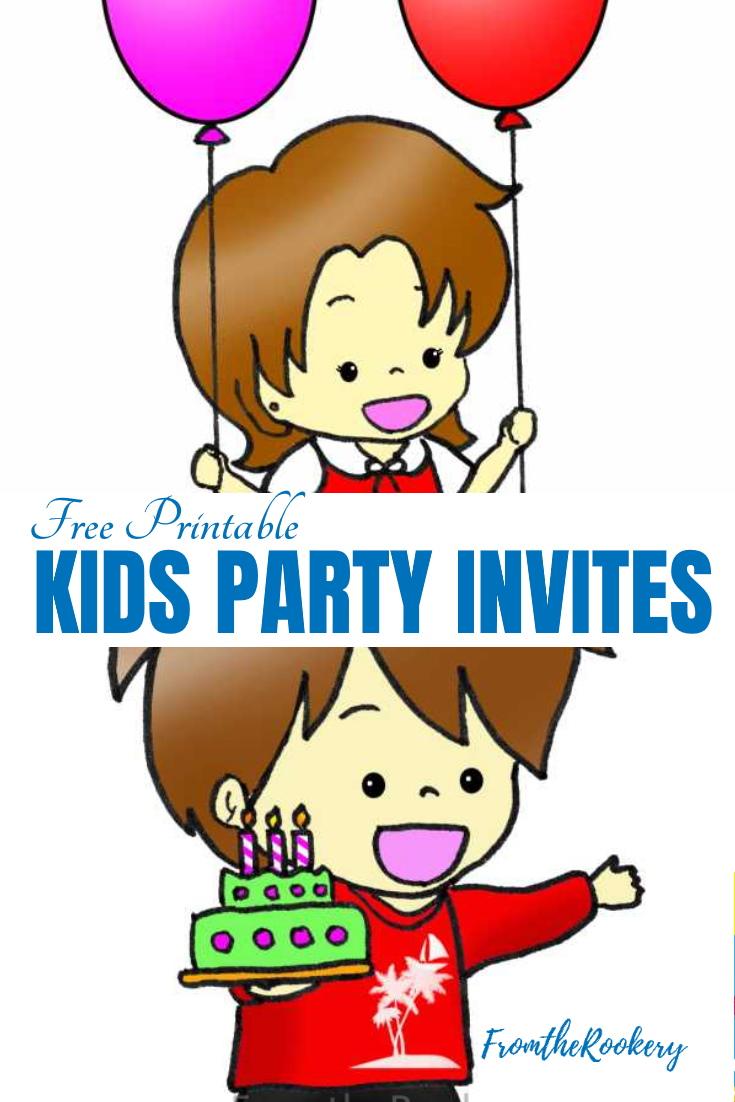 Cute Manga Kids Birthday Party Invitations