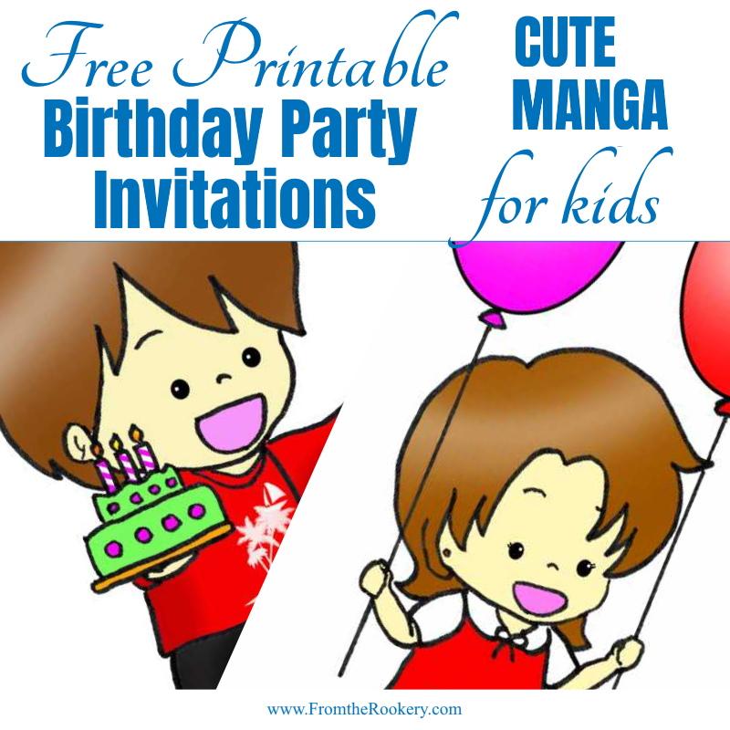 Cute manga birthday invitations for kids