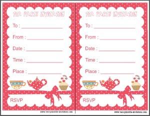Free printable kids tea party invitation