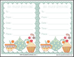 Free printable invite - Kids Tea Party