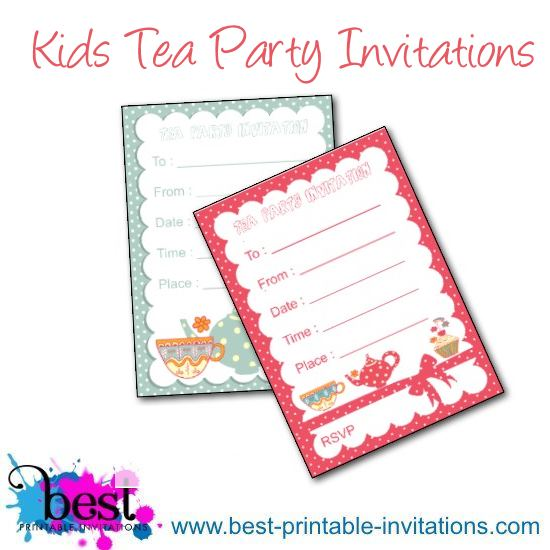 Kids Tea Party Invites - Free Printable Invitations