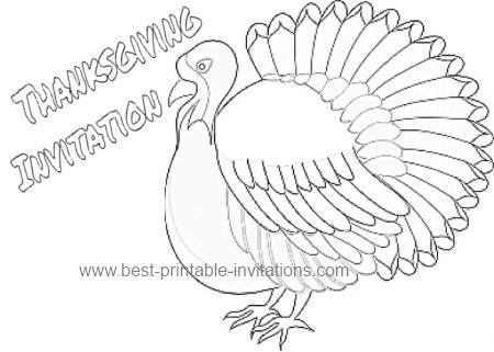 Color the Turkey Thanksgiving Invitation