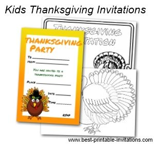 Free Printable Kids Thanksgiving Invitations