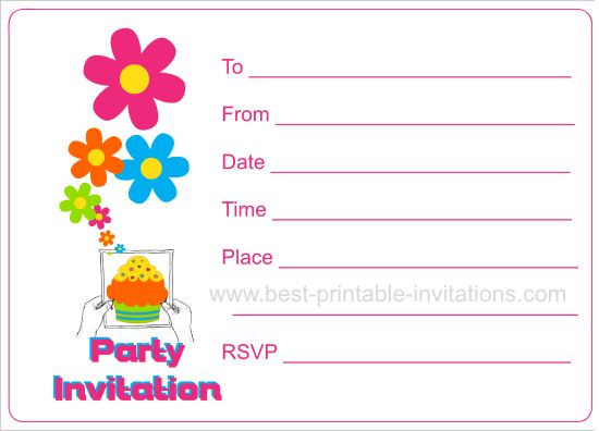 Party Invitation Card - Birthday party invitation cards to print