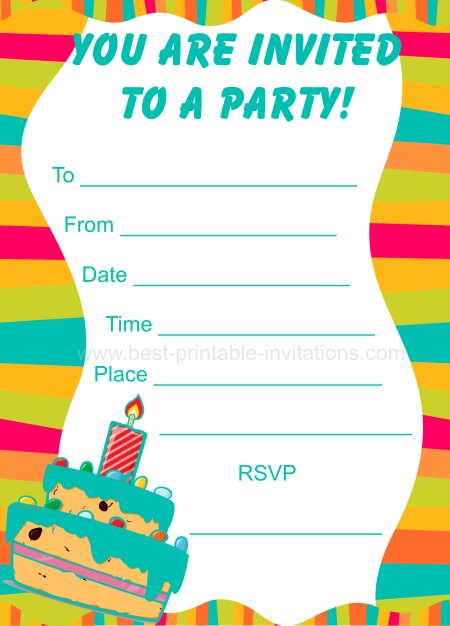 Party Invitations for Kids - Free printable birthday invites