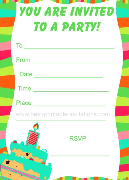 Party Invitations For Kids - Printable Birthday Invites