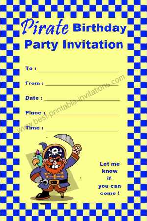 Free printable Pirate Birthday  Invitation