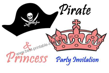 Free printable Princess and Pirate Party Invitation