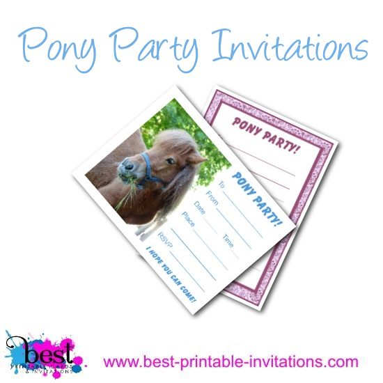 Free Printable Pony Party Invitations for Kids