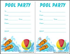 Pool Party Invitation - free printable invites