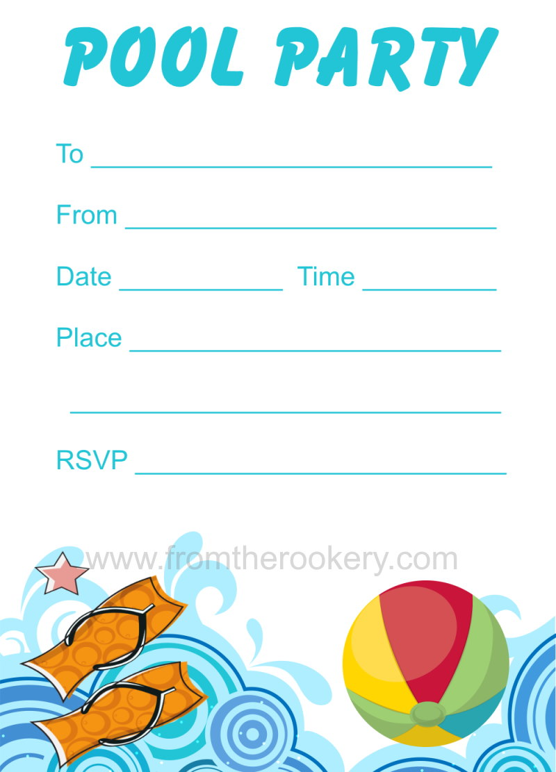 picture relating to Printable Party Invites titled Printable Pool Get together Invitation