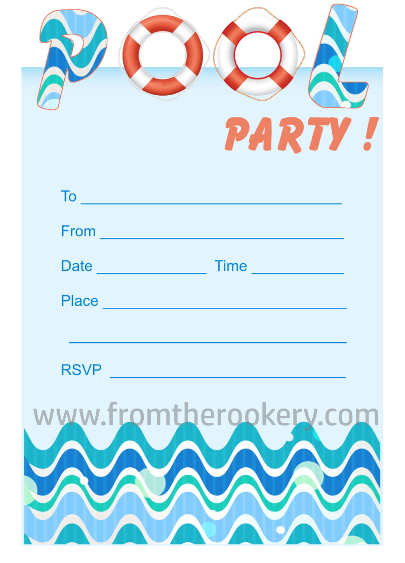 printable pool party invites. Black Bedroom Furniture Sets. Home Design Ideas