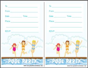 Printable pool party Invites