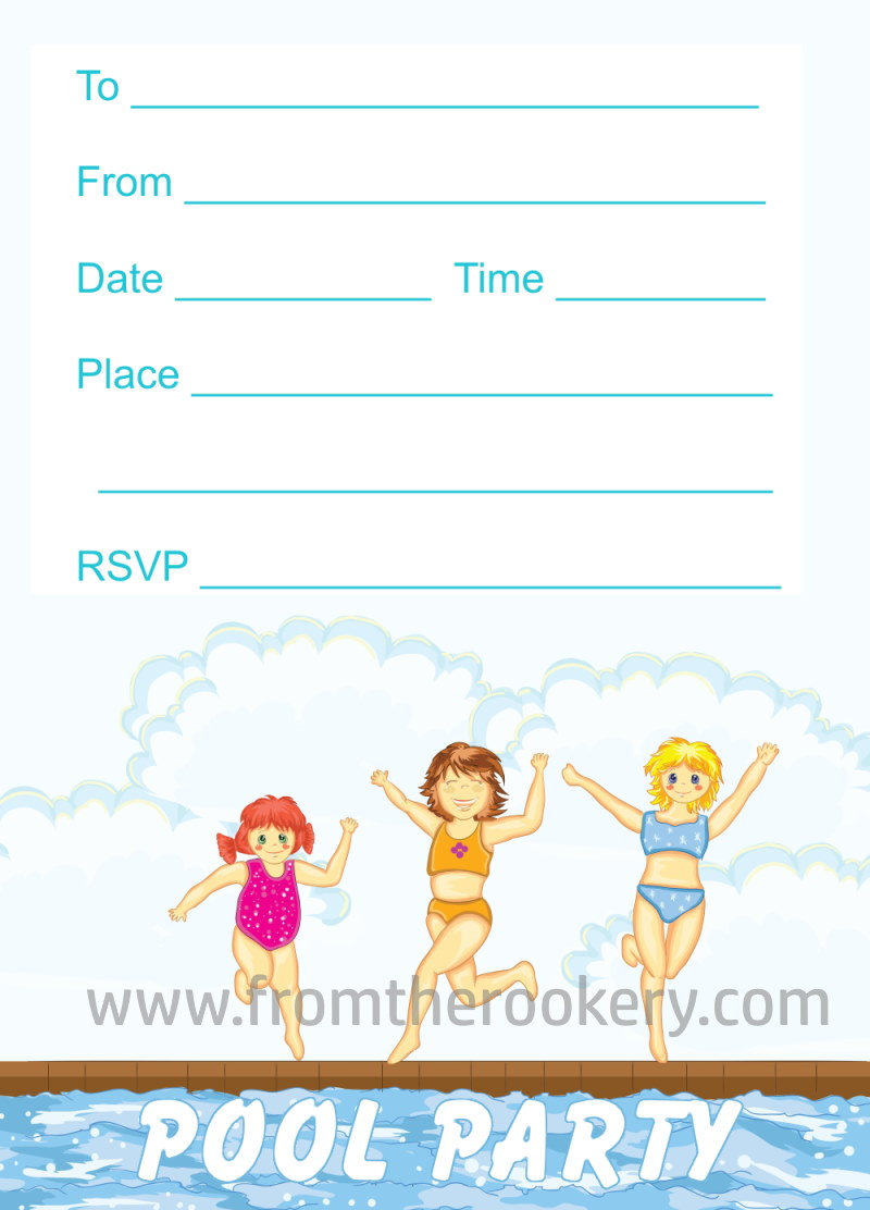 Girls Pool Party Invites