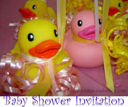printable baby shower invitations - rubber ducky and ribbons