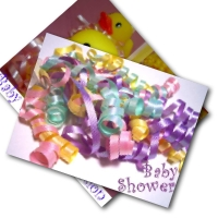 Printable baby shower invitations - ducky and ribbons