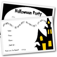 Printable halloween  invitations - 4 to a page