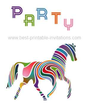 Free printable horse party invitations - brightly colored horse