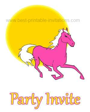 printable horse birthday party invitations - pink pony
