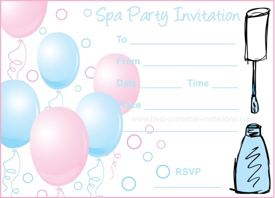 Spa Party Invitations – Printable Spa Party Invitations