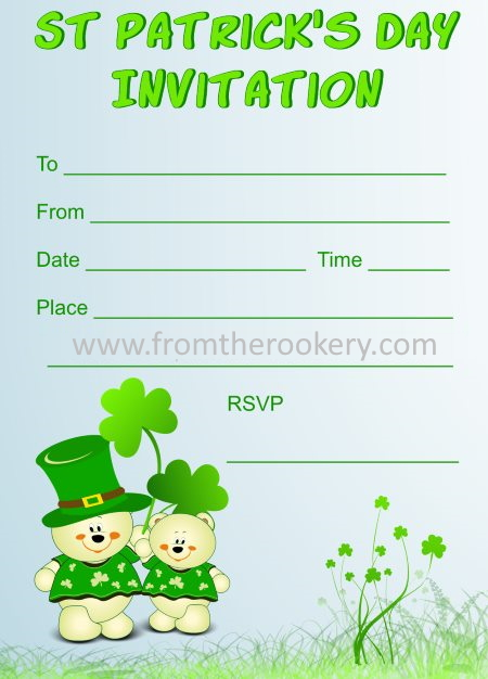 Free printable St. Patrick's Day Invitation