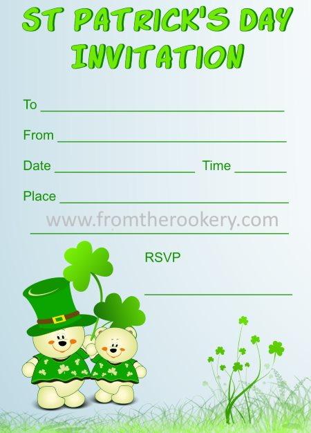 Free printable St. Patrick's Day Invitation