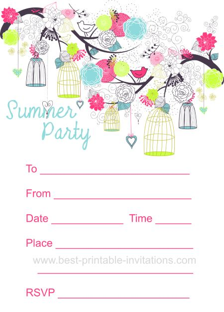 Summer Party Invitation - Free printable invites