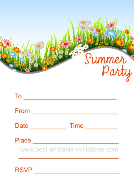 printable summer party invitation