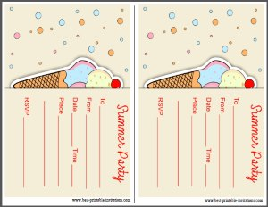 Kids Free printable Summer Party Invitation