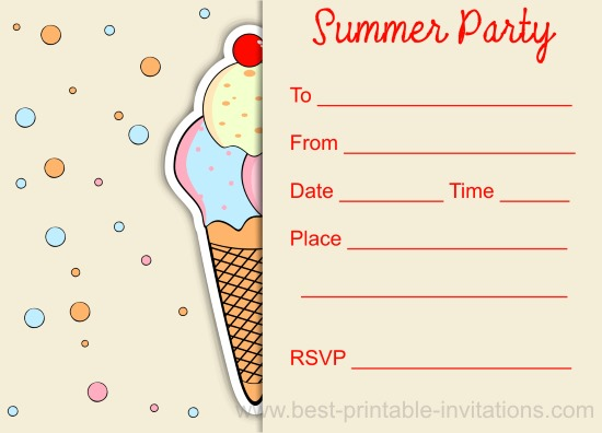 Kids Summer Party Invitations