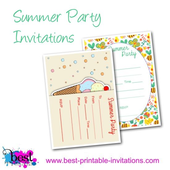 Summer Party Invitation. Free printable invites perfect for kids.