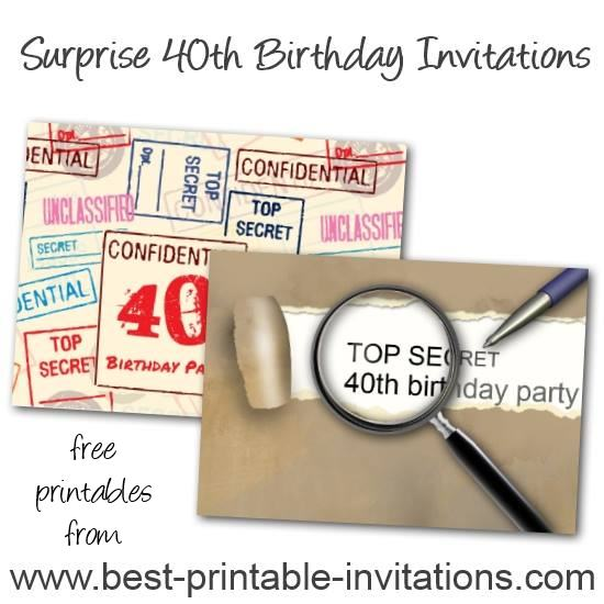 Top Secret Surprose 40th Birthday Invitations