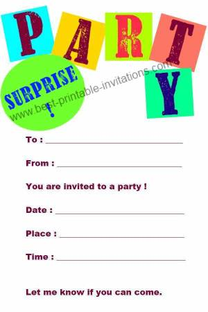 Surprise Birthday Invitations - Free Printable Party Invites