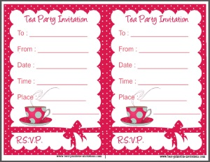 Tea Party Invitation - Free printable polka dot invites