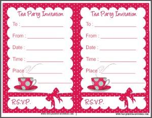 Tea Party Invitation - Free printable polka dot invites