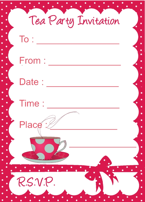 It's just a picture of Sizzling Printable Tea Party Invitations