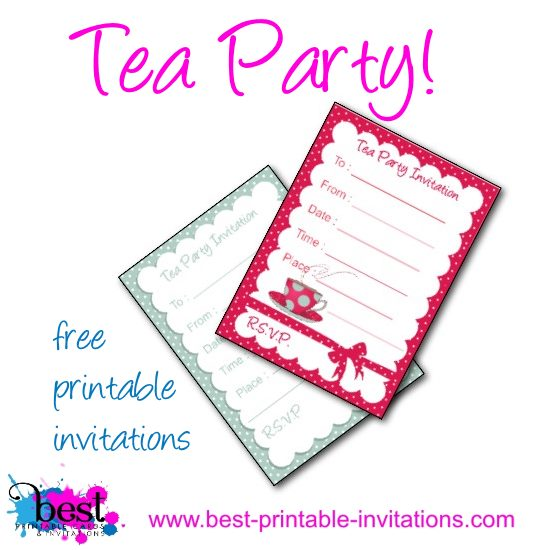 Tea Party Invitation - Free printable invites for birthday tea parties.