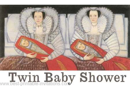 Twin baby shower invitation - free printable Elizabethan design