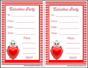 Free printable Robot Valentine's Day Invitation