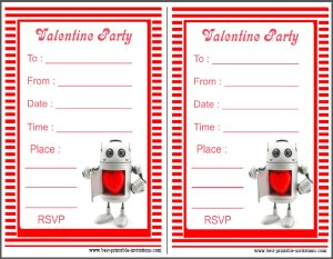 Robot Valentine Party Invites - Free printable