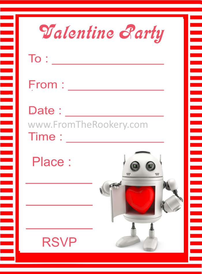 Valentine Party Invitation With Robot – Robot Party Invitations