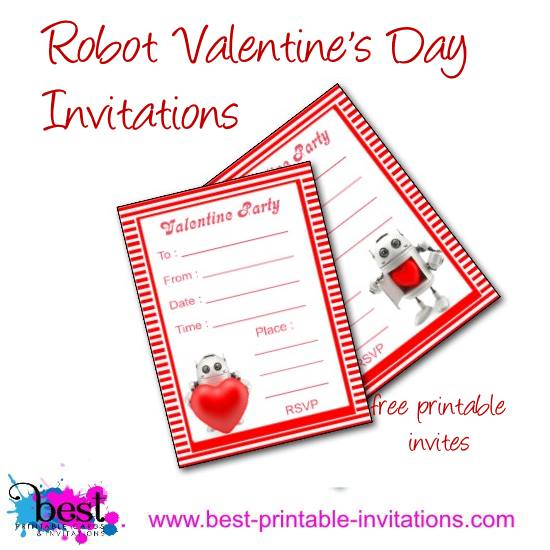 Free Printable Valentine Party Invitations with Robot