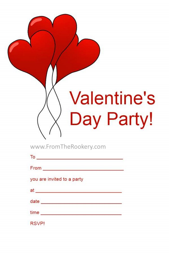 Valentine Party Invitations - Free Printable