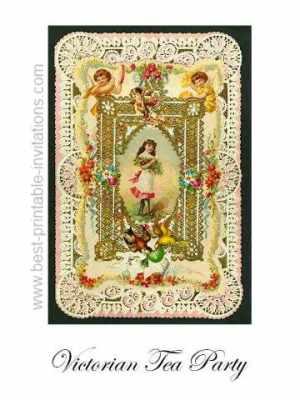 Free printable Victorian tea party invitations - card design