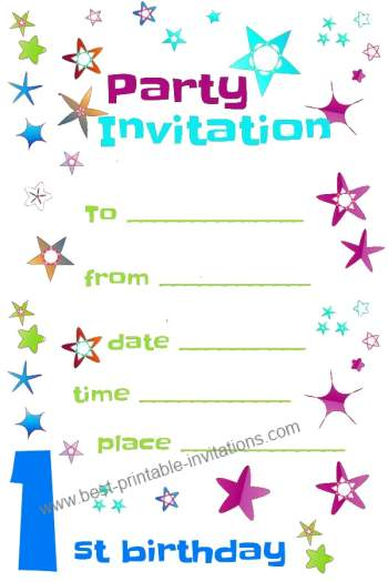 Printable 1st Birthday Party Invitations